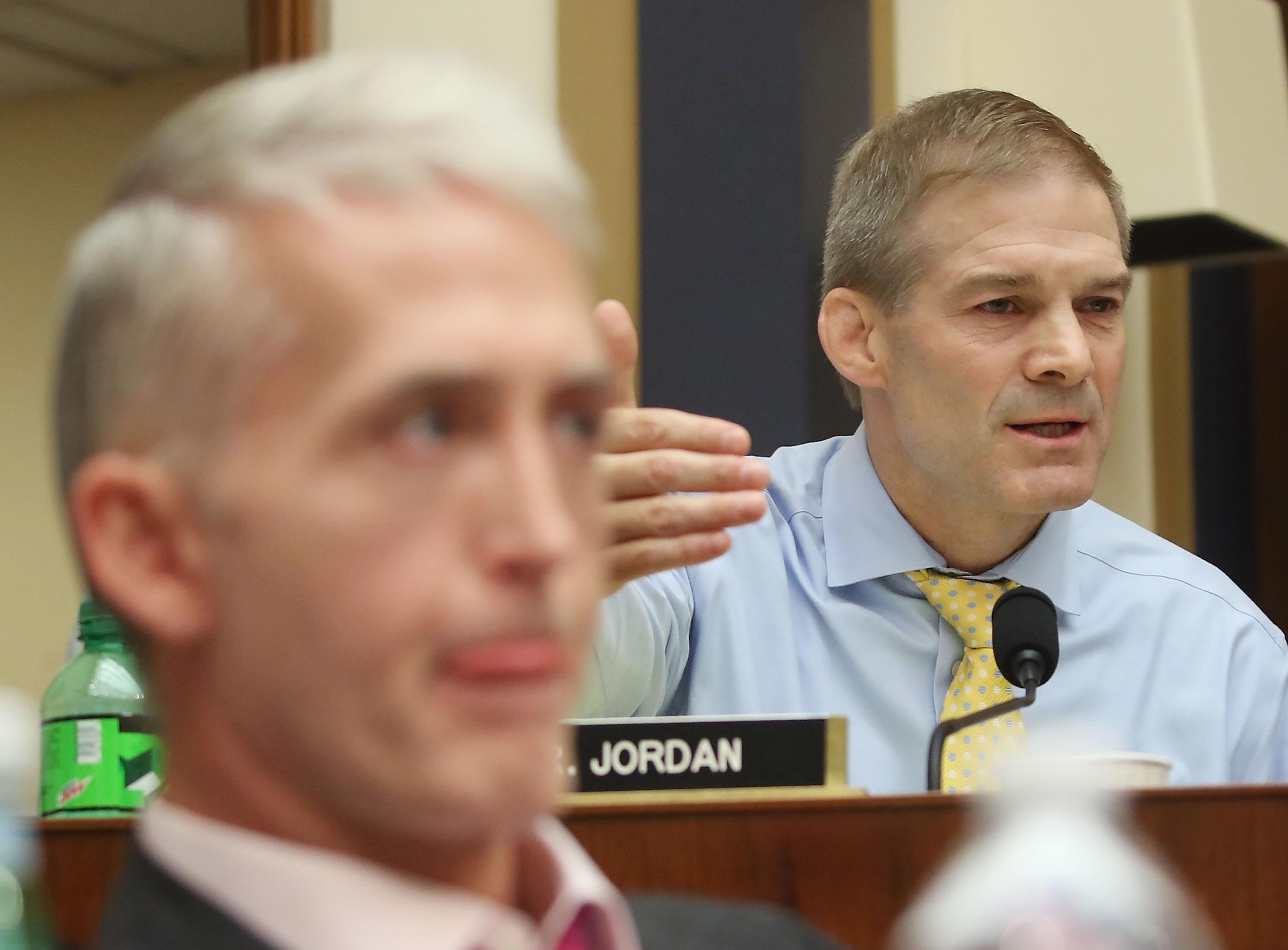 Reps. Trey Gowdy, left, and Jim Jordan listen during a House Judiciary Committee hearing
