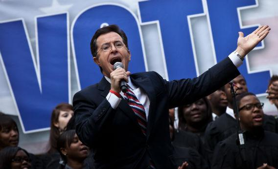 Stephen Colbert hosts a rally.