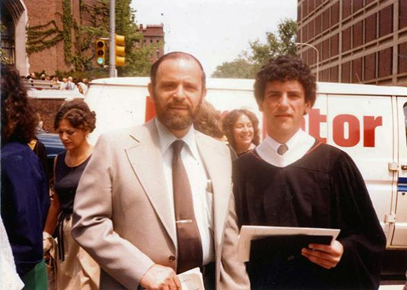 Father and son at Barron Lerner's graduation from the University of Pennsylvania, May 1982.
