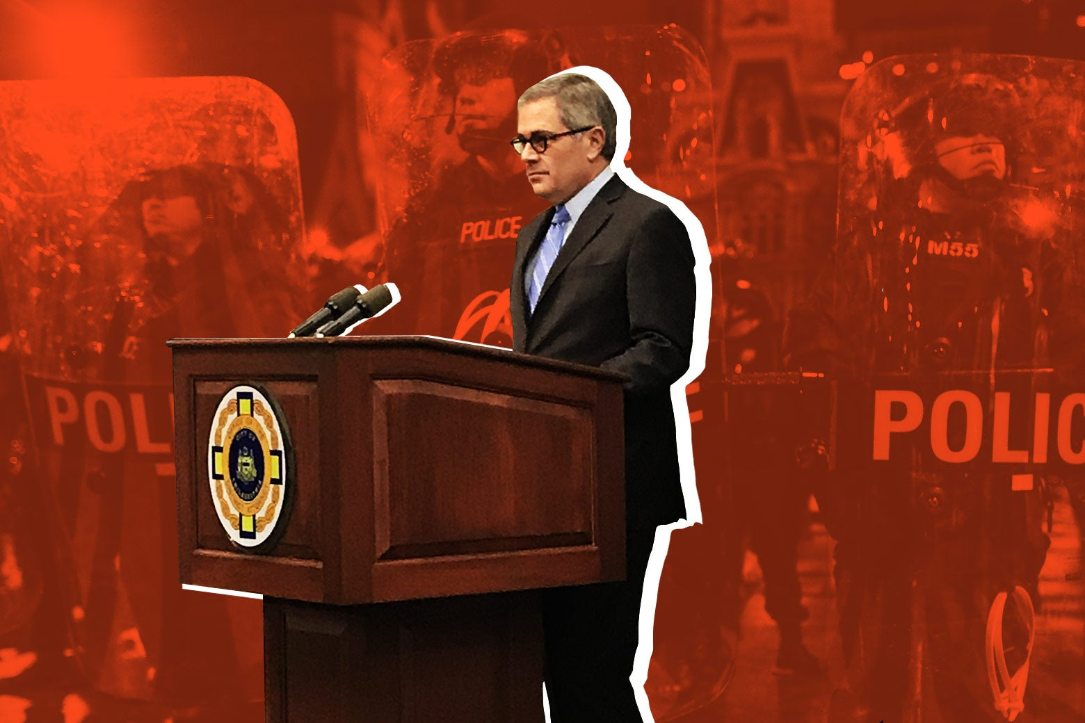 Photo illustration: Philly DA Larry Krasner experimenting in criminal justice reform against a background of police officers in riot gear.