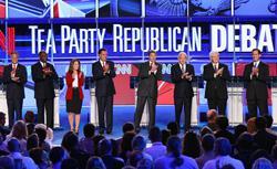 Republican presidential candidates Jon Huntsman, Herman Cain, Rep. Michele Bachmann, Mitt Romney, Gov. Rick Perry, Rep. Ron Paul, Newt Gingrich, and Rick Santorum at the Sept. 12 debates