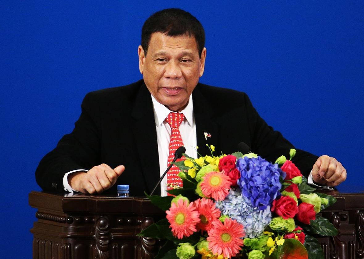 Philippines President Rodrigo Duterte makes a speech during the Philippines - China Trade and Investment Fourm at the Great Hall of the People on October 20, 2016 in Beijing, China.