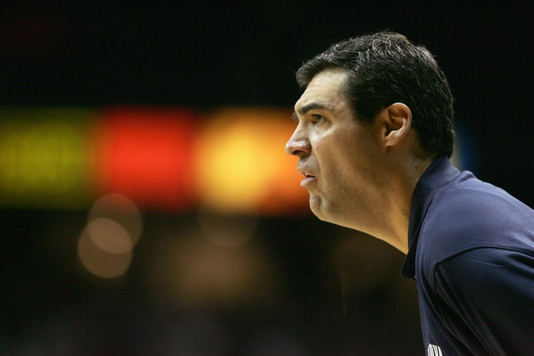 ROSEMONT, IL - FEBRUARY 11:  Head coach Jay Wright of the Villanova Wildcats looks on against the DePaul Blue Demons on February 11, 2006 at the Allstate Arena in Rosemont, Illinois. Villanova won 61-51.  (Photo by Jonathan Daniel/Getty Images)