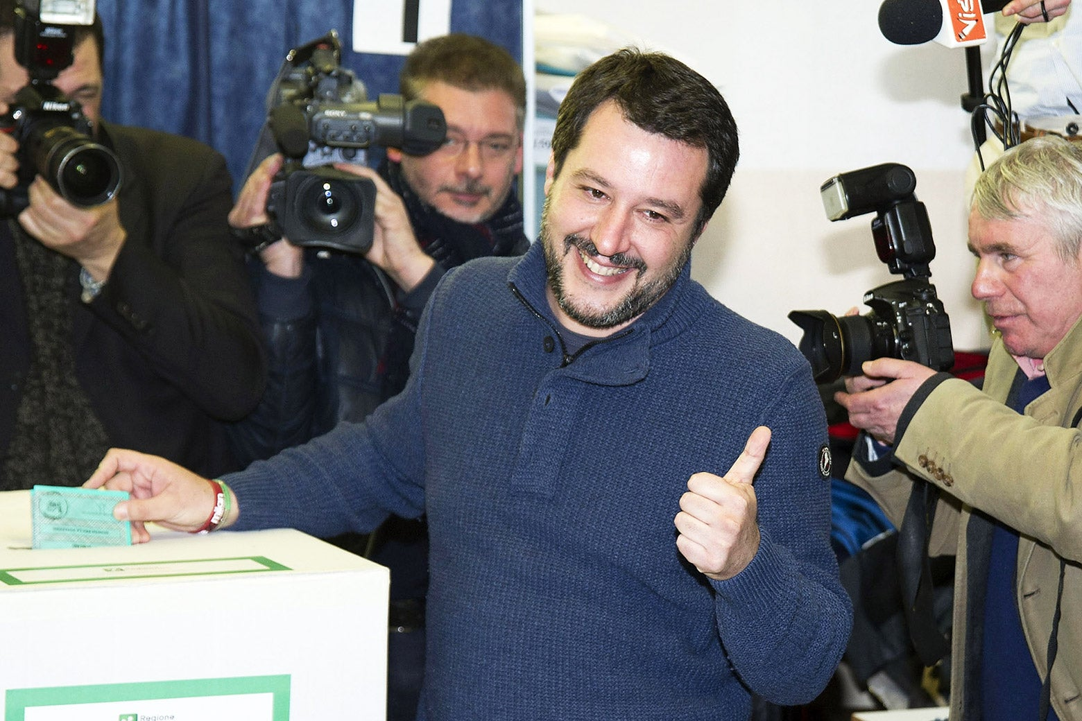 Leader of Lega Nord party Matteo Salvini votes in the Italian General Election at a polling station on March 4, 2018 in Milan, Italy. The economy and immigration are key factors in the 2018 Italian General Election after parliament was dissolved in December 2017.