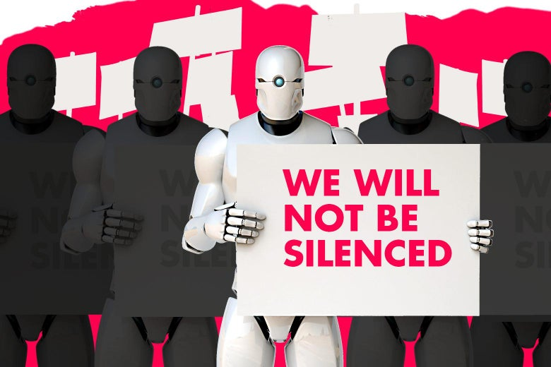 Robots demonstrating free speech.