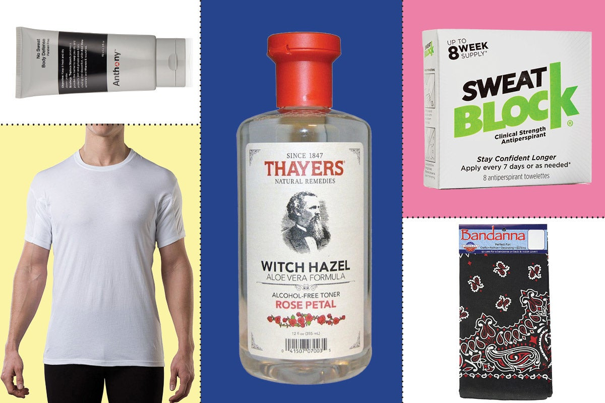 Collage of various products to stop sweating.