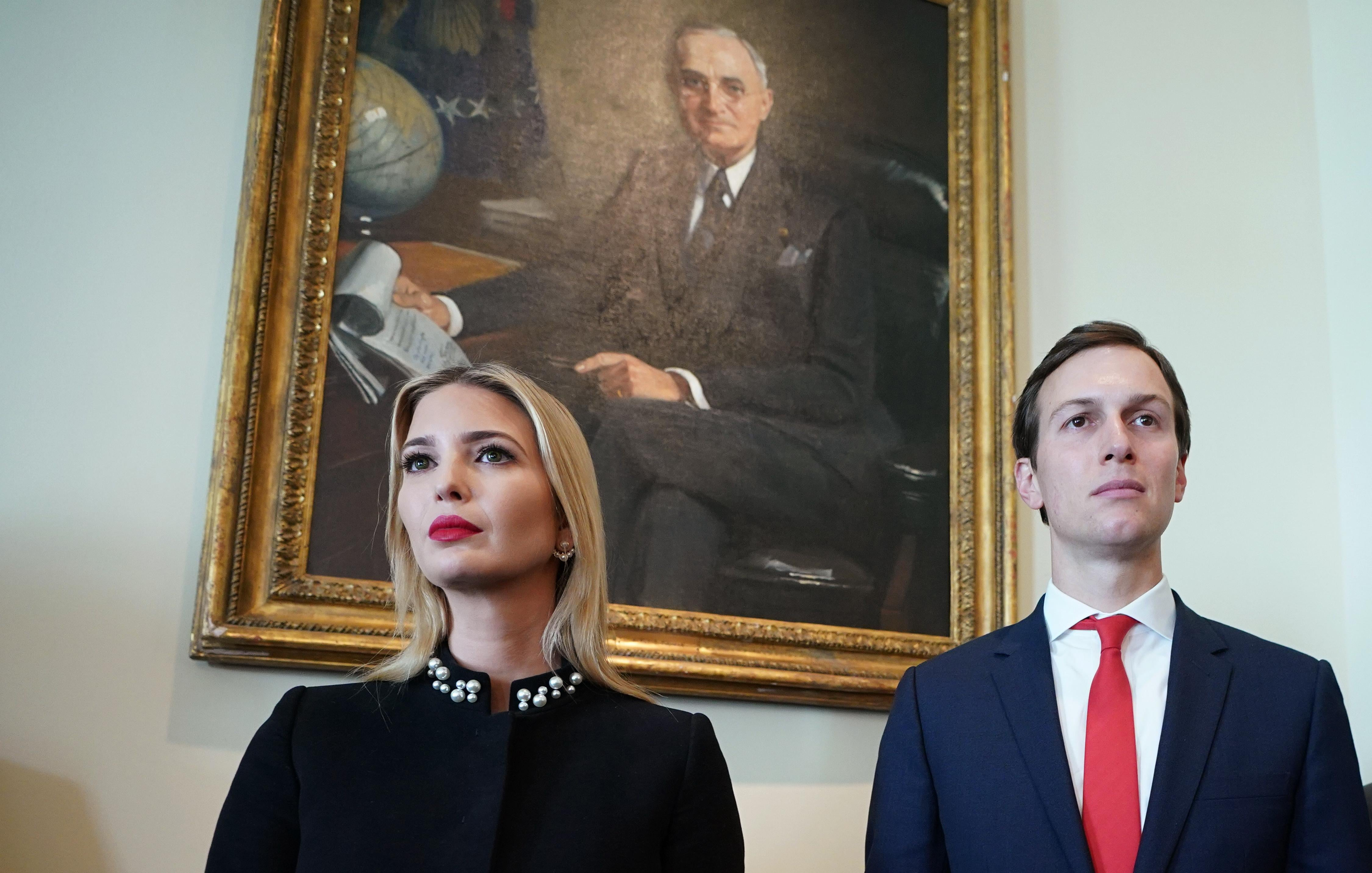Ivanka Trump and Jared Kushner attend a Cabinet meeting in the Cabinet Room of the White House on March 8, 2018 in Washington, DC.