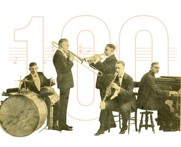 Photo illustration by Natalie Matthews-Ramo. Photo of Original Dixieland Jazz Band scanned by Infrogmation (https://commons.wikimedia.org/wiki/User:Infrogmation)from original 1918 promotional postcard.
