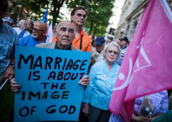 Opponents of same-sex marriage protest in Virginia.