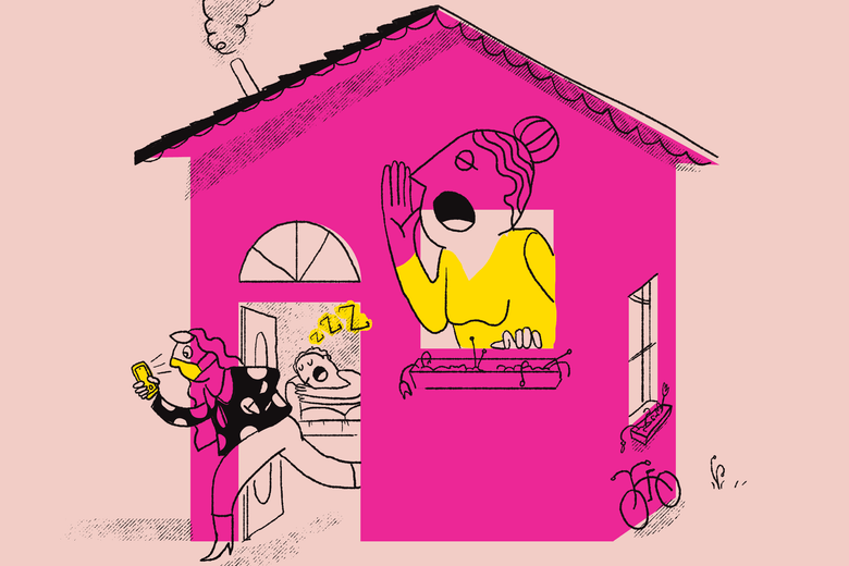 Illustration of a mom yelling out the window of a house, a teen girl sneaking out wearing a mask and looking at her phone, and a teen boy inside sleeping