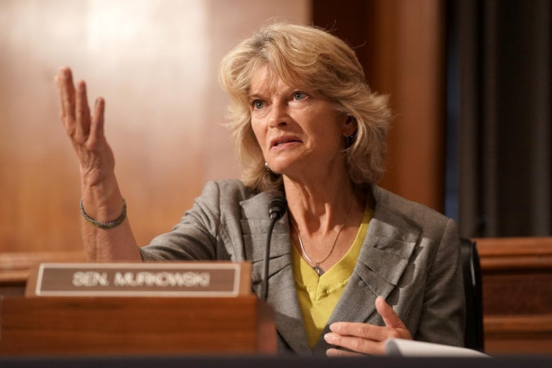 Lisa Murkowski gestures while speaking during a hearing.