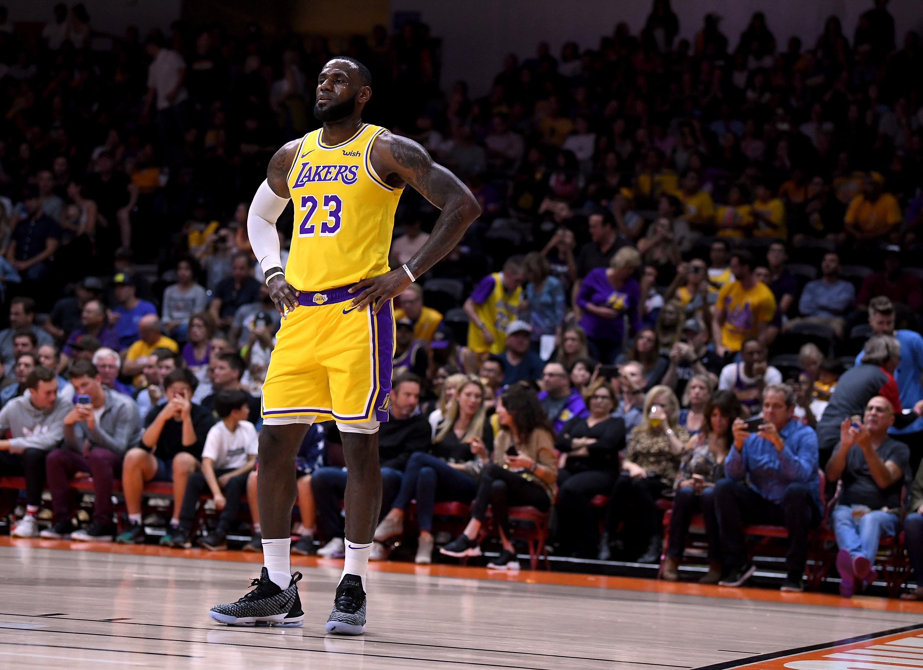 LeBron James in his first preseason game for the Los Angeles Lakers, against the Denver Nuggets at Valley View Casino Center in San Diego.