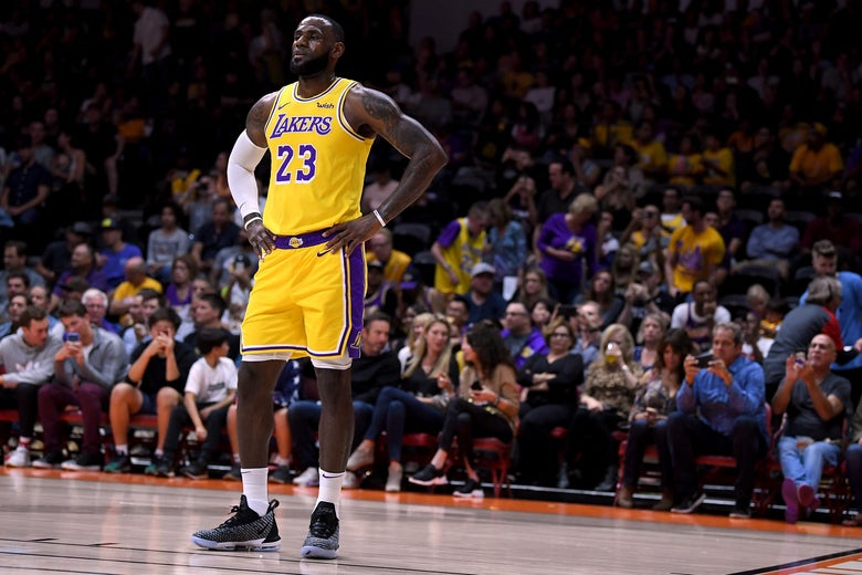 351b87d121cf LeBron James in his first preseason game for the Los Angeles Lakers
