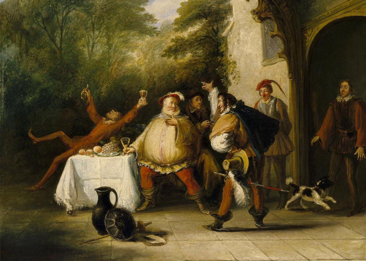 Pistol announcing to Falstaff the death of the king from Act V, Scene 3 of William Shakespeare's Henry IV, Part 2.
