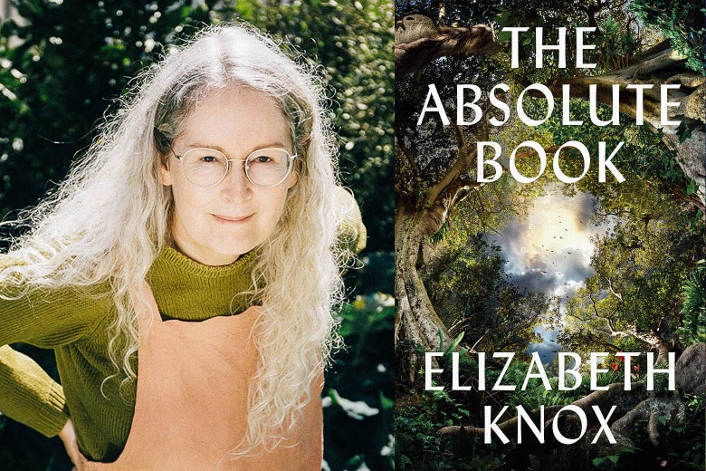 The author Elizabeth Knox and her book The Absolute Book.