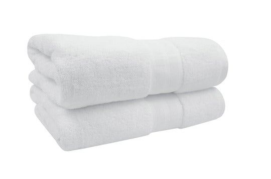 Two white 1888 Mills towels.
