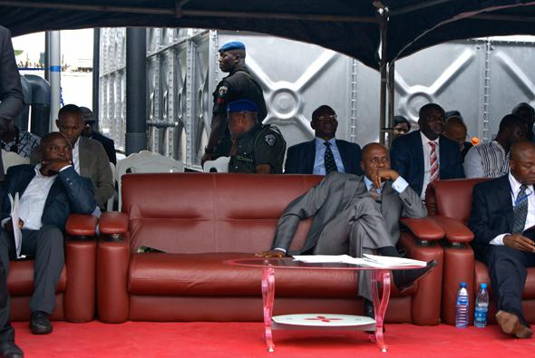 Governor Amaechi, centre, listens to the opening speeches at the unveiling of a Shell-sponsored water purification plant, flanked by members of his administration and Shell Nigeria reps.