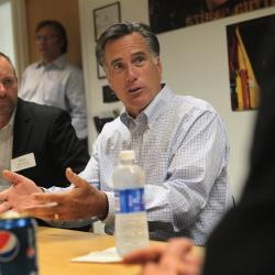 The last time Mitt Romney was  in Iowa before this week: In August he met with businesspeople in Pella.