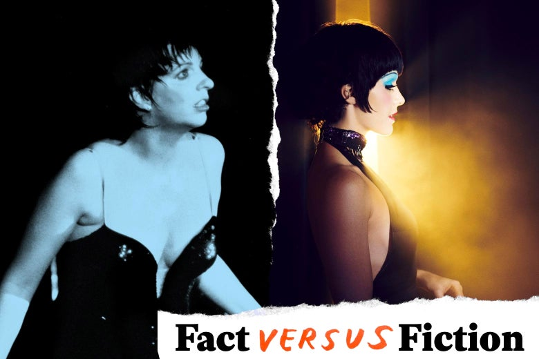Liza Minnelli performing in Paris in 1982, and Kelli Barrett as Liza Minnelli in Fosse/Verdon.
