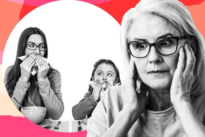 Photo illustration of a mom and daughter happily wiping their faces after eating while an older woman looks on with visible frustration.
