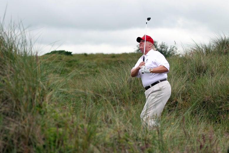 Donald Trump plays a round of golf.