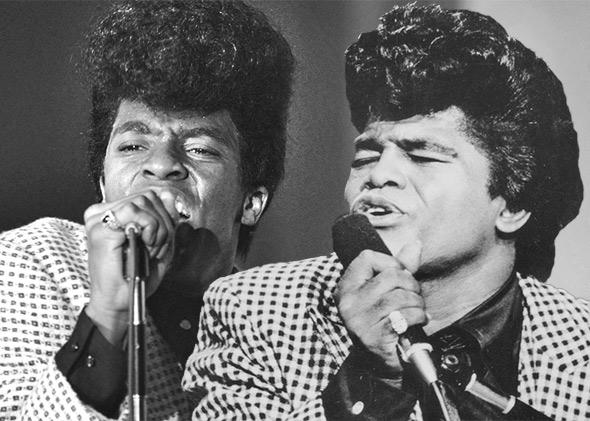 Chadwick Boseman in Get on Up, left, and James Brown performing at the TAMI Show on December 29, 1964 in Santa Monica, California.