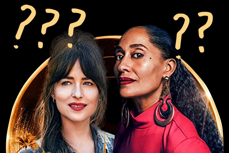 Dakota Johnson and Tracee Ellis Ross, surrounded by question marks.