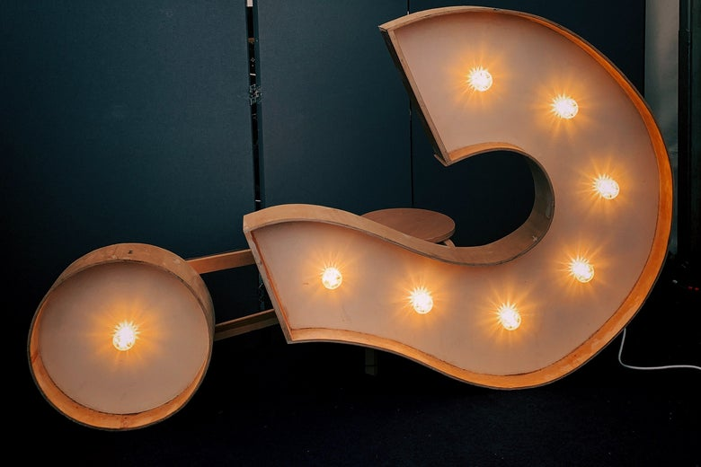 A light-up question mark on its side.