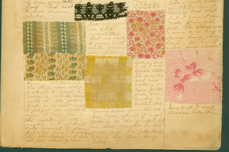 A page from Hannah Alspaugh's fabric scrapbook.