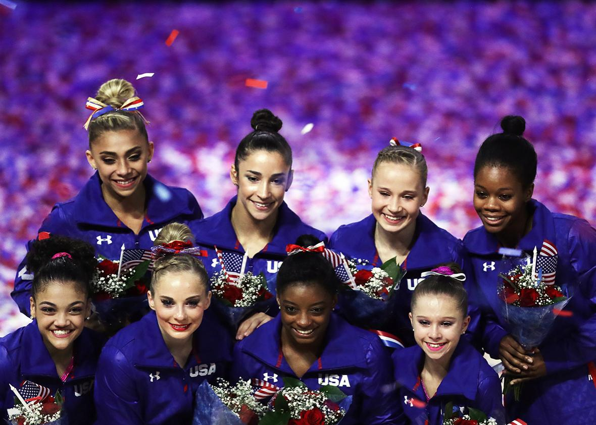 Lauren Hernandez, MyKayla Skinner, Simone Biles, Ragan Smith, Ashton Locklear, Alexandra Raisman, Madison Kocian, and Gabrielle Douglas pose for a team photo after they were selected for the Olympic Team following Day 2 of the 2016 U.S. Women's Gymnastics Olympic Trials at SAP Center on July 10, 2016 in San Jose, California.