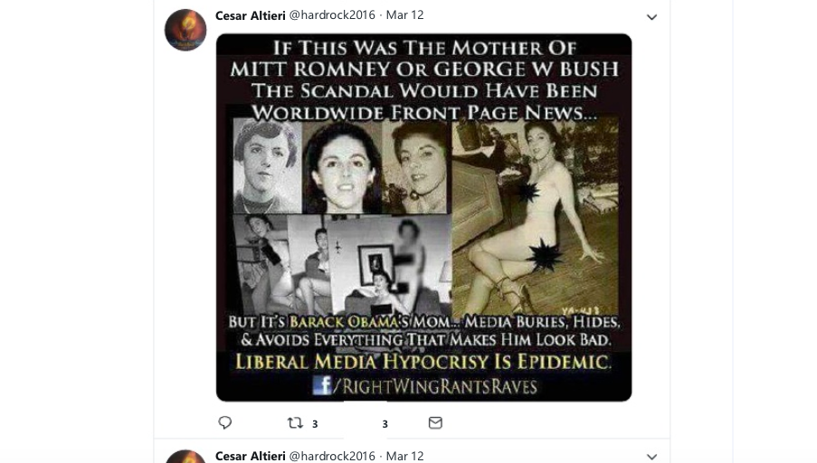 One of the right-wing memes, featuring what he purports are scantily clad photos of Obama's mother.