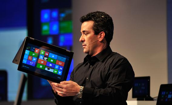 Corporate Vice President Mike Angiulo demonstrates Windows 8