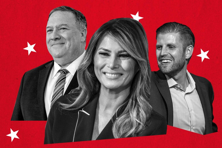 Mike Pompeo, Melania Trump, and Eric Trump seen on a red background surrounded by white stars.