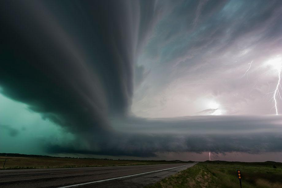 A very intense high-precipitation supercell storm moves south in the Nebraska Sand Hills, south of Valentine, July 13, 2009.
