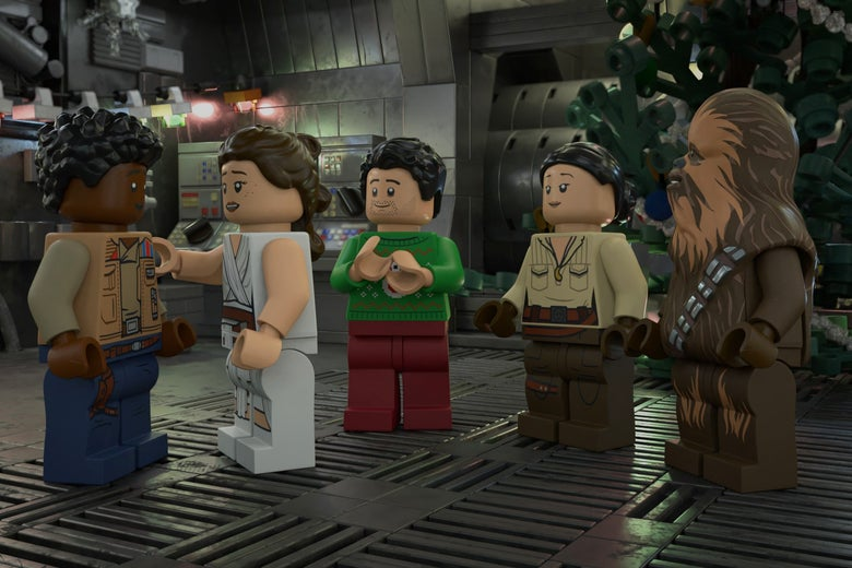 Finn, Rey, Poe, Rose, and Chewie, in Lego form.