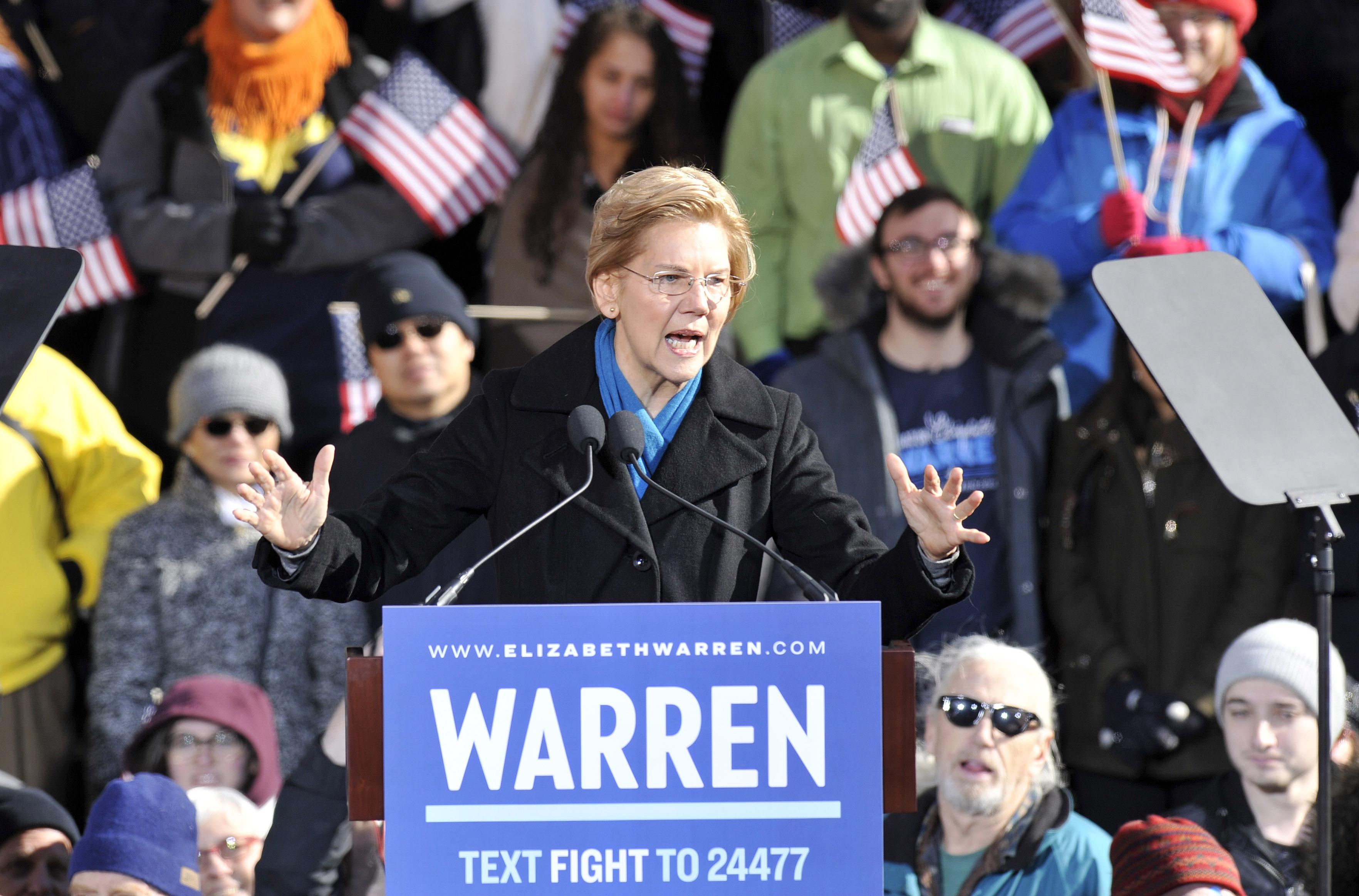 Senator Elizabeth Warren speaks during her presidential candidacy announcement event at the Everett Mills in Lawrence, MA on February 9, 2019.