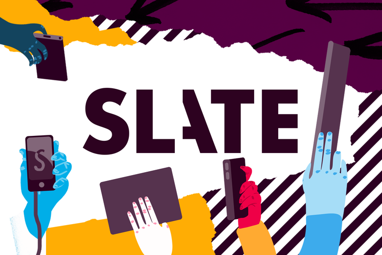The Slate logo surrounded by illustrations of hands holding smartphones, tablets, and such accessing Slate.