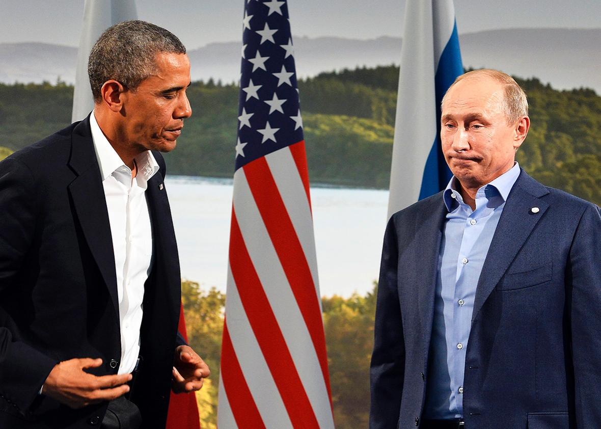 US President Barack Obama holds a bilateral meeting with Russian President Vladimir Putin during the G8 summit at the Lough Erne resort near Enniskillen in Northern Ireland, on June 17, 2013.