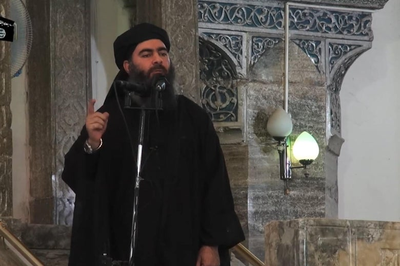 "In this file picture taken on July 5, 2014, an image grab taken from a propaganda video released by al-Furqan Media allegedly shows the leader of the Islamic State (IS) jihadist group, Abu Bakr al-Baghdadi, aka Caliph Ibrahim, adressing Muslim worshippers at a mosque in the militant-held northern Iraqi city of Mosul. - Kurdish-led forces announced on March 23, 2019 they had fully captured the Islamic State group's last bastion in eastern Syria and declared the total elimination of the jihadists' ""caliphate."""