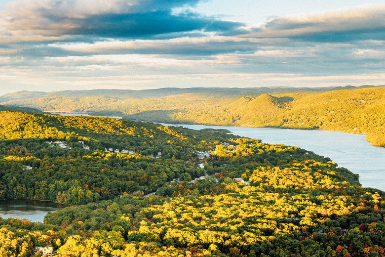 An aerial view of forest along the Hudson River.