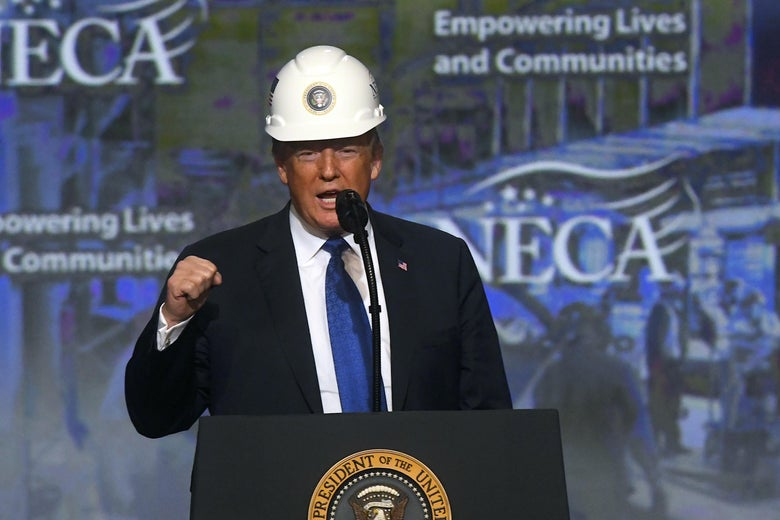 President Trump wears a hard hat during a speech.