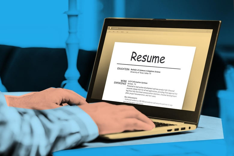 Photo illustration of a person on a computer typing a résumé in the Comic Sans font