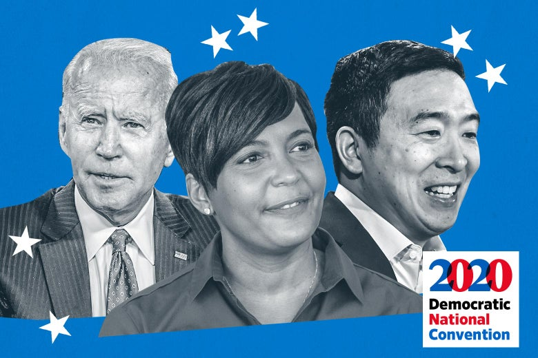 Collage of Joe Biden, Keisha Lance Bottoms, and Andrew Yang, with stars in the background