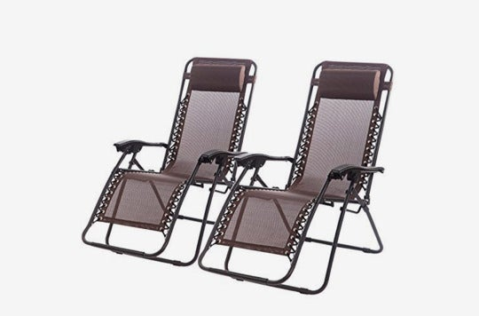 Set of 2 Zero Gravity Chairs Lounge Patio Chairs.