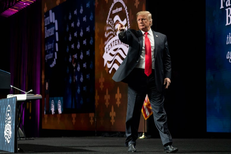 President Donald Trump delivers remarks during the American Farm Bureau Federation's 100th Annual Convention on January 14, 2019 in New Orleans, Louisiana.