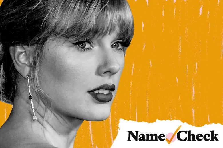 Taylor Swift's face over an orange backdrop.