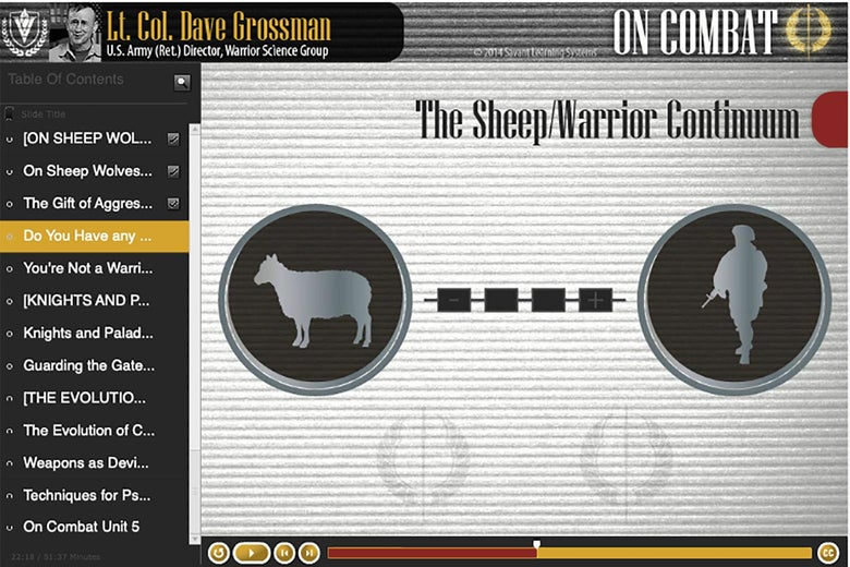 """A picture of a slide titled, """"The Sheep/Warrior Continuum"""" with images of a sheep and a soldier."""