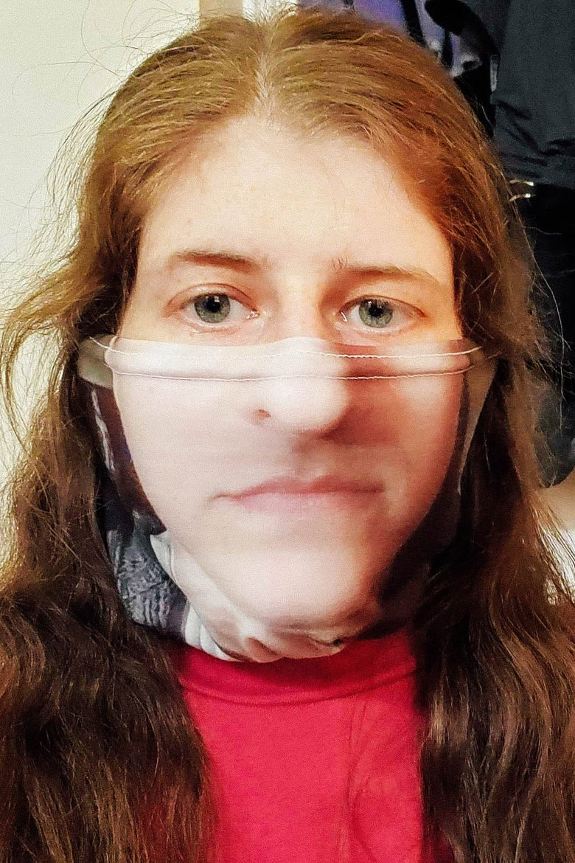 Heather Schwedel in a printed neck gator.