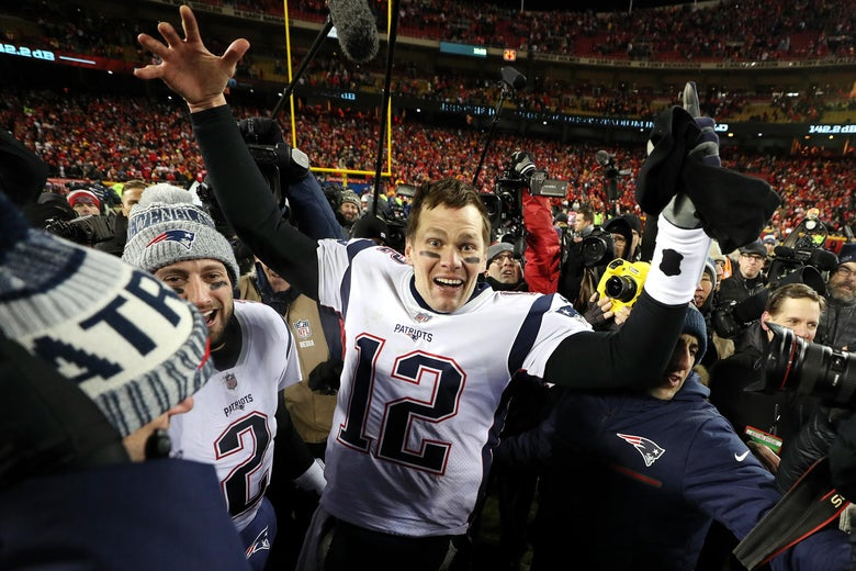 KANSAS CITY, MISSOURI - JANUARY 20: Tom Brady #12 of the New England Patriots reacts after defeating the Kansas City Chiefs in overtime during the AFC Championship Game at Arrowhead Stadium on January 20, 2019 in Kansas City, Missouri. The Patriots defeated the Chiefs 37-31. (Photo by Patrick Smith/Getty Images)
