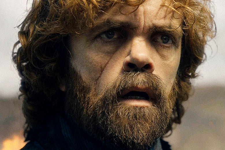 Peter Dinklage looks surprised in Game of Thrones.